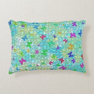 Puzzle Butterflies and Daisies-Colorful by STaylor Decorative Pillow