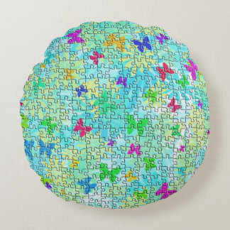 Puzzle Butterflies and Daisies-Colorful by STaylor Round Pillow