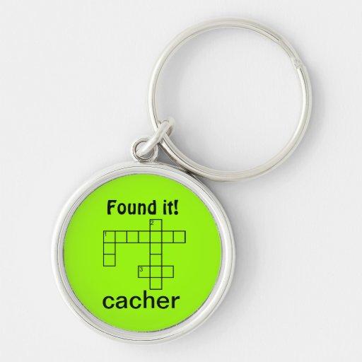 Puzzle Cacher Geocaching Found It Swag Custom Text Key Chain