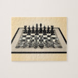"""Puzzle: Chessboard and Chess Pieces Jigsaw Puzzle<br><div class=""""desc"""">This item is totally customizable!  You can add your own text,  background,  or images to this design!   The Artwork featured on this product was created with 3DS Max 3D Modeling Software.  3D Modeling by: Brady Arnold.</div>"""