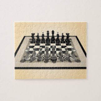 Puzzle: Chessboard and Chess Pieces Jigsaw Puzzle