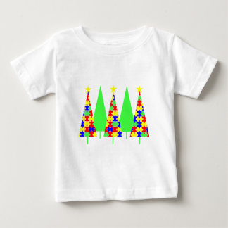 Puzzle Christmas Trees - Autism Awareness Baby T-Shirt