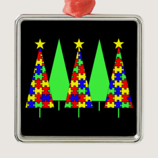 Puzzle Christmas Trees - Autism Awareness Metal Ornament