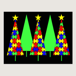 Puzzle Christmas Trees - Autism Awareness Postcard