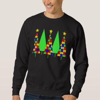 Puzzle Christmas Trees - Autism Awareness Sweatshirt