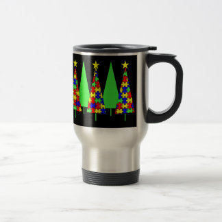 Puzzle Christmas Trees - Autism Awareness Travel Mug