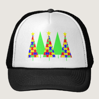 Puzzle Christmas Trees - Autism Awareness Trucker Hat