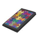 puzzle color pieces trifold wallets