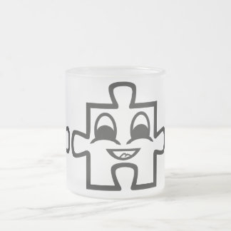 Puzzle cup 10 oz frosted glass coffee mug