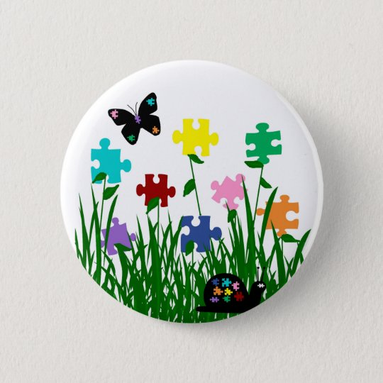 Puzzle garden with butterfly and snail button