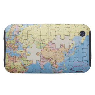 Puzzle Globe with two pieces missing Tough iPhone 3 Covers