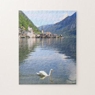 Puzzle Hallstatt town and lake of Austria
