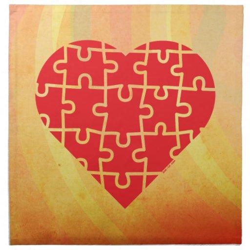 Puzzle Heart Napkins