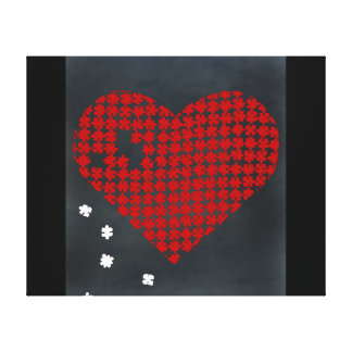 Puzzle Heart Red 2 Canvas Print