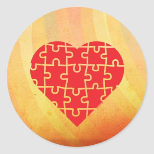 Puzzle Heart Round Stickers