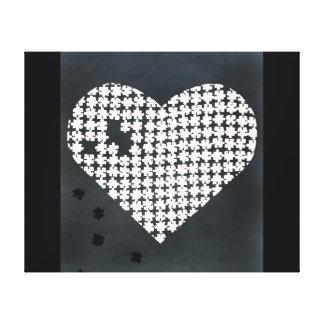 Puzzle Heart White Canvas Print