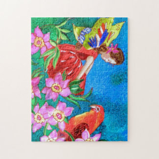 Puzzle in Box 10x14 Fairy and Bird with Flowers