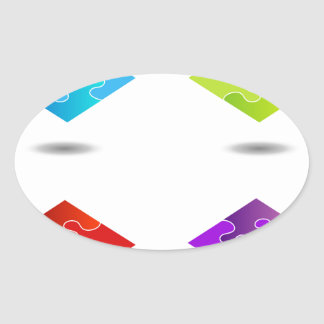 Puzzle in different colors oval sticker