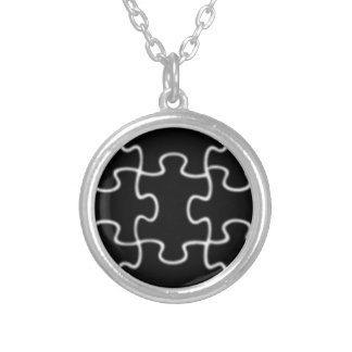 puzzle / jigsaw silver plated necklace