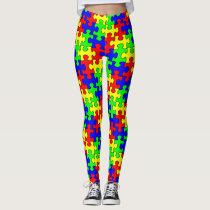 Puzzle Leggings: Colorful Puzzle Leggings