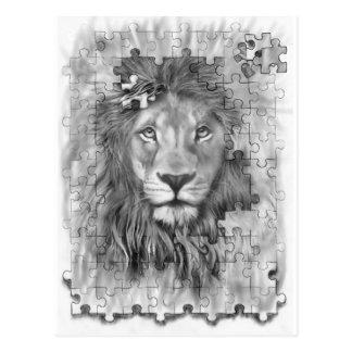 puzzle lion post card