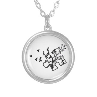 Puzzle of Birds Silver Plated Necklace
