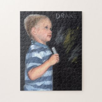 Puzzle of Little Boy Creating Art on a chalkboard