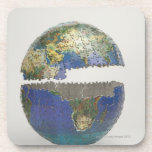 Puzzle of the globe beverage coasters