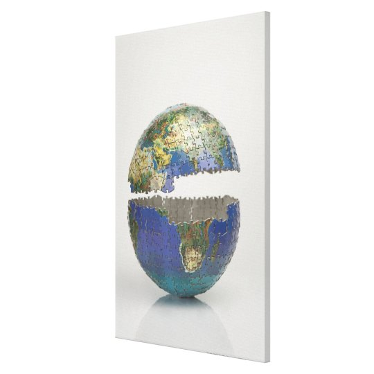 Puzzle of the globe canvas print