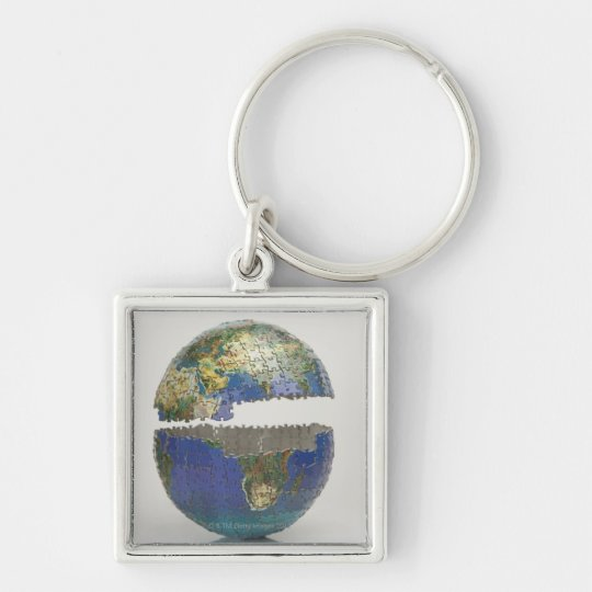 Puzzle of the globe keychain
