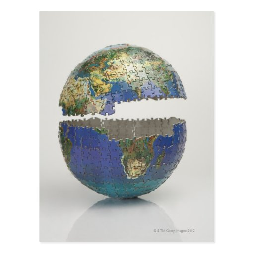 Puzzle of the globe postcard