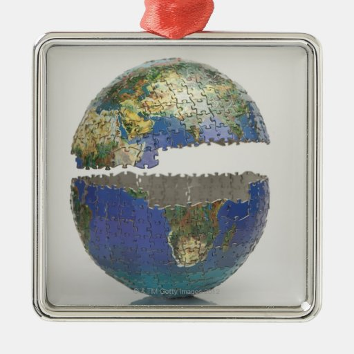 Puzzle of the globe square metal christmas ornament