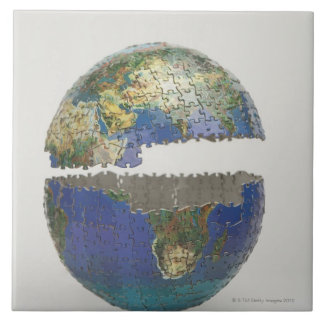 Puzzle of the globe tile