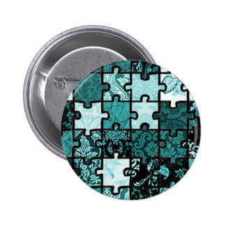 Puzzle Patchwork 2 Inch Round Button
