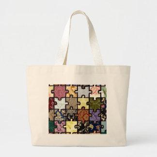 Puzzle Patchwork Canvas Bag