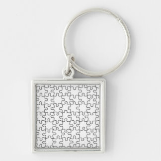 Puzzle Pattern (Add Your Image) Silver-Colored Square Keychain