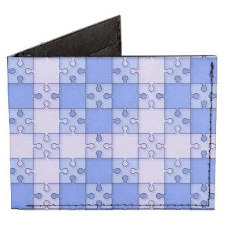 puzzle pattern blue billfold wallet