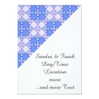 Puzzle Pattern,blue 5x7 Paper Invitation Card