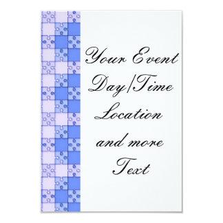 puzzle pattern blue 3.5x5 paper invitation card