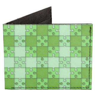 puzzle pattern green tyvek wallet
