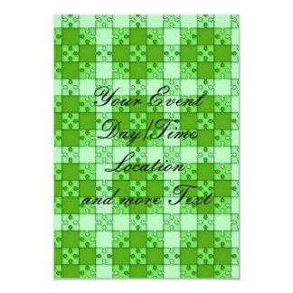 puzzle pattern green 3.5x5 paper invitation card