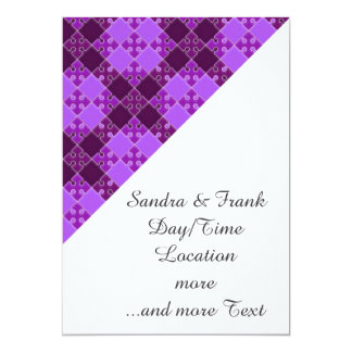 puzzle pattern purple invitations