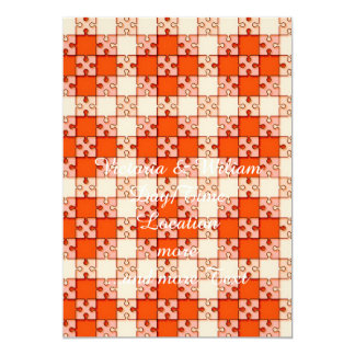 puzzle pattern red 5x7 paper invitation card