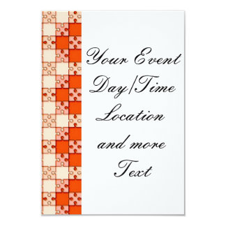 puzzle pattern red 3.5x5 paper invitation card