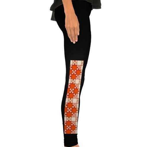 puzzle pattern red leggings