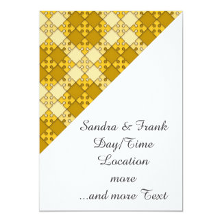puzzle pattern yellow 5x7 paper invitation card