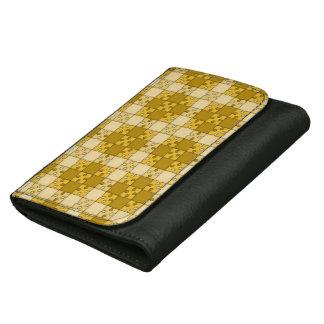 puzzle pattern yellow women's wallets