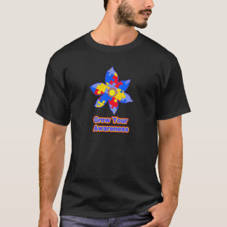 Puzzle Piece Flower For Growing Autism Awareness - T-Shirt