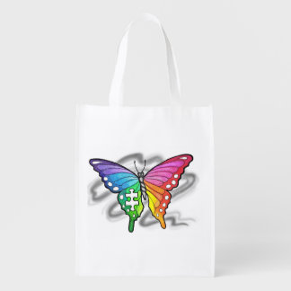 Puzzle Piece Rainbow butterfly Reusable bag Reusable Grocery Bag