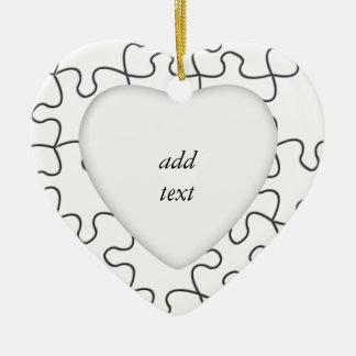 Puzzle Pieces  (Add Background Color or Image) Ceramic Ornament